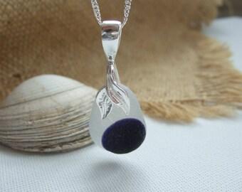Purple multi sea glass pendant, Seaham purple multi, dot pattern, sterling silver mermaid bail, deep purple sea glass, love gift, Valentines