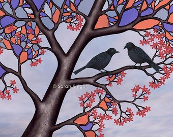 spring crows in the stained glass tree - signed print 8X10 inches by Sarah Knight, black birds tree branches bark periwinkle purple violet