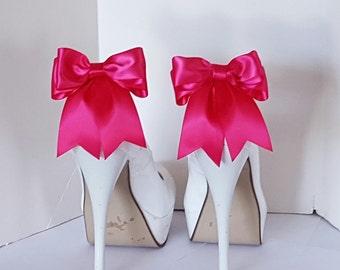 Wedding Shoe Clips,  Bridal Shoe Clips, Satin Bow Shoe Clips, Shoe CLips,  Shoe Clips for Wedding Shoes, Bridal Shoes, MANY COLORS
