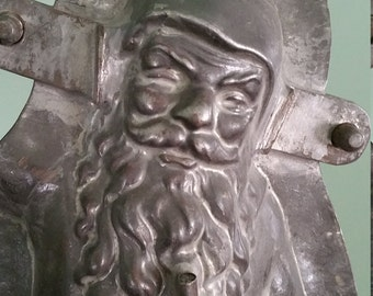 "Rare DISPLAY German Santa Antique Chocolate Mold 16"" TALL w/ Christmas Tree Holder"