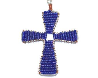 Glass Bead Cross Ornament (blue)