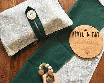 In stock- Nappy wallet & change mat set; diaper clutch, baby travel bag- gender neutral pastel grey and jade green print