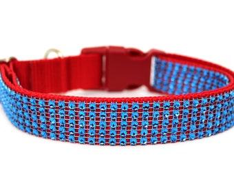"""Rhinestone Dog Collar 1"""" Fourth of July Dog Collar Blue Rhinestone Dog Collar"""