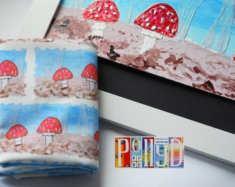 Exclusive 'toadstool' stitched motif digitally printed 100% cotton fabric fat quarter