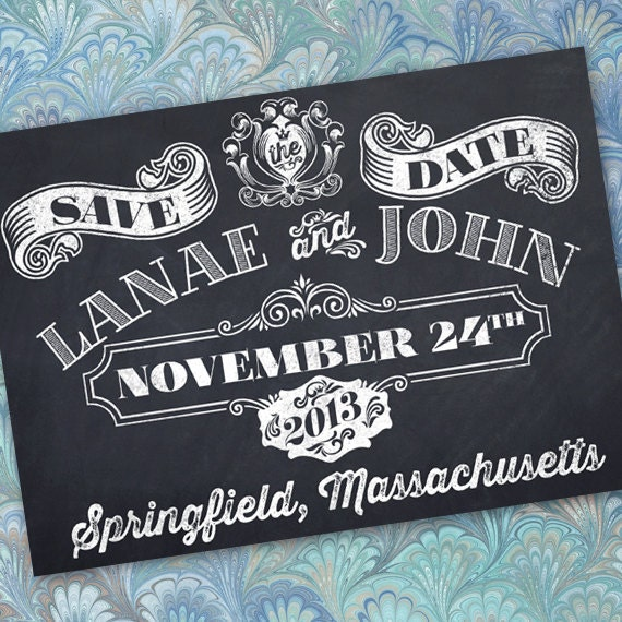 save the date, chalkboard bride and groom, chalkboard save the date card, chalkboard invitation, chalkboard wedding, IN243