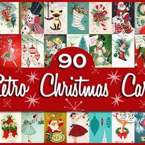 "90 Retro Vintage Christmas Card Fronts / Each Card 10"" Long or Wide / INSTANT DIGITAL DOWNLOAD / Tags: Clipart Clip Art Navidad Noel Santa"