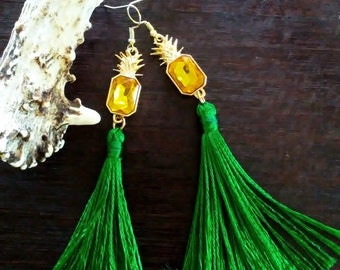 Green Tassel Earrings, Pineapple Earrings, Statement Earrings
