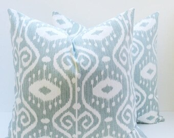 15% Off Sale PILLOW COVERS, Blue pillow covers, Decorative pillows,  set of TWO  Pillow Covers - Spa Blue Pillow - Couch pillows - Ikat Pill