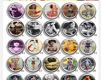 Bottle cap cameo: 25pcs 25mm 1 inch circle round Resin Cabochon. Tattoo Ladies 1
