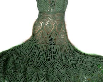 Crochet dress women Crochet maxi dress dark green Knitted summer dress By order all sizes Natural cotton yarn Casual simple crochet dress