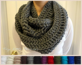 Charcoal Gray Infinity Scarf, Crocheted, Winter Scarf, Circle Scarf, Women's, Color Choice