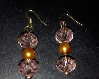 Pink champagne crystal earrings