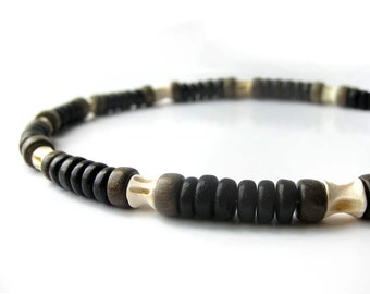 Tribal men's jewelry - Fish vertebrae & wood necklace for men - Fisherman