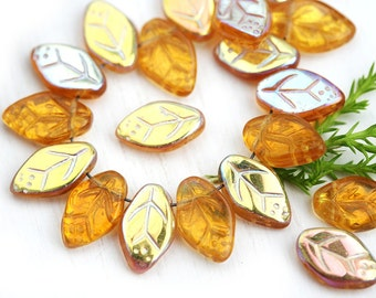 12x7mm Amber yellow leaves Czech glass pressed leaf beads, Rainbow coating, top drilled, 25pc - 2235