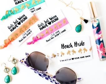 CUSTOM Palm Tree Hair Tie Favors | Beach Bachelorette Party Favor Hair Ties, Girls Trip Bachelorette Favors, Neon Orange Teal Palm Hair Ties