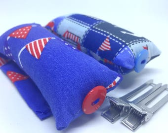 Hair Curling, Gift For Her, Gift Idea, Vintage Curlers, Soft Hair Rollers, Nautical But Nice, Set of 15, Handmade.