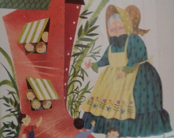 Vintage  Carboard Old Woman That Lived In A Shoe/ Mother  Goose  Nursery Rhyme/  Old Woman/  Shoe/Children