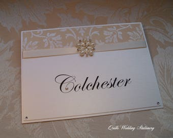 Wedding Table Name. Damask Table Name. Pearl and Diamante Flower.