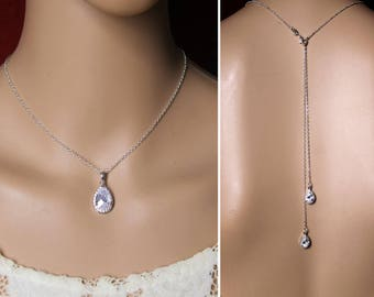 Bridal necklace - Necklace for wedding with back jewel - drop cubic zirconia - wedding collar back