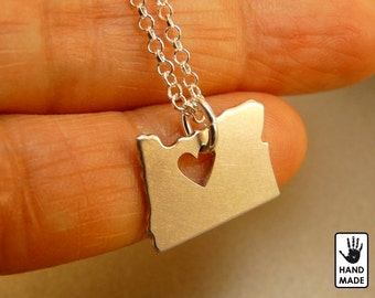 OREGON Handmade Personalized Sterling Silver .925 Necklace in a gift box
