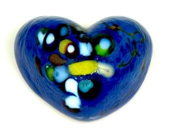 Lapis Blue Glass Heart.  Solid Sculpted and Cast Fine Art Glass. Paperweight.  Made in Seattle. Artist Dehanna Jones.