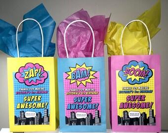 "Superhero Gift Bag Labels 7""x 4"" (PRINTABLE)"