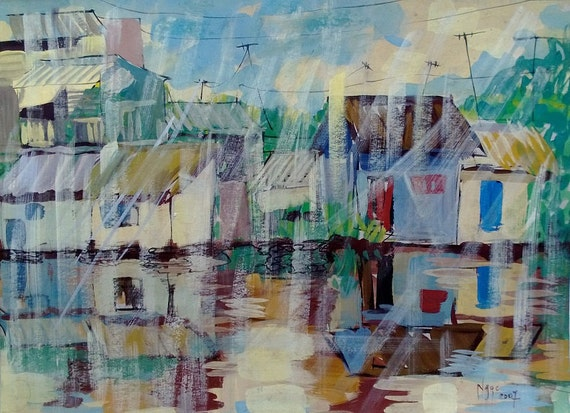 """AFTERNOON RAIN 16X20"""" gouache on paper, live painting, Mekong Delta (Cần Thơ Province), original by Nguyen Ly Phuong Ngoc"""