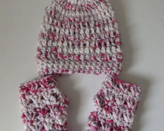 Pink Candy Slouchie Beanie and Fingerless Gloves Girl's Set