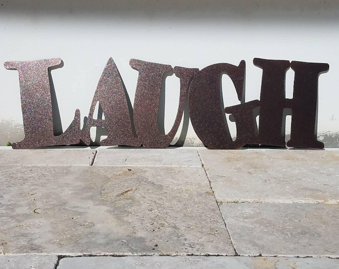 Featured listing image: Metal Laugh Sign - Metal Letters - Metal Wall Art - Live Laugh Love - Outdoor Decor - Home Decor - Word Art - Quote Set - Wall Art Metal