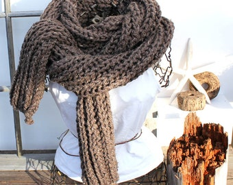 Chunky Brown Knit Scarf Extra Large Knit Scarf Chunky Knit Scarf The Ursus Barley Fleck Brown Scarf Huge 9' Long Scarf Winter Fashion Scarf