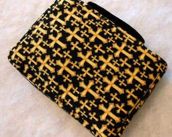 Bible Cover Gold Crosses on Black Your Book Measurements Required