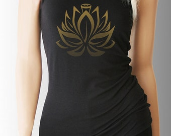 Lotus. Yoga. Yoga Tank. Yoga Shirt. Yoga Clothes. Yoga Clothing. Yoga Top. Yoga Tank Top. Yoga T Shirt. Yoga TShirt. Vita Sana Shirt.