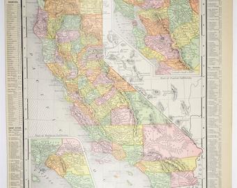 1909 Antique California/San Francisco Map
