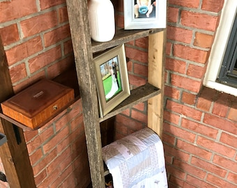 Reclaimed Wood Ladder Shelf - Wood Blanket Wood Ladder, Rustic Ladder,