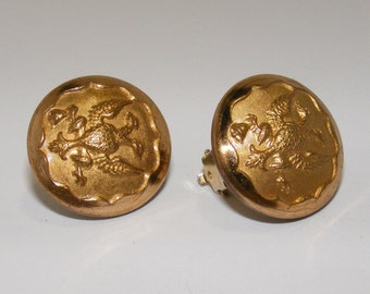 Grandmother's Buttons Collection - 20th Century Military Button Clip Earrings