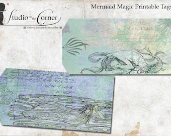 Mermaid Magic Printable Tags, Printable Gift Tags, Digital Summer Gift Tags, Beachy Gift Tags, Sea Blue-Green Gift Tags, Instant Download