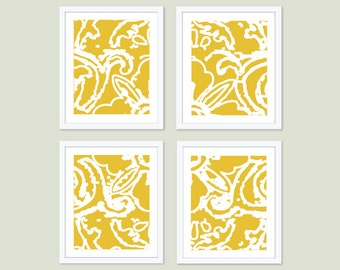 Abstract Flower Print Set  - Set of Four Prints - Modern Wall Art  - Mustard Yellow Home Decor