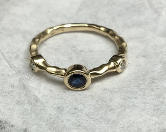 Sapphire Ring, Sapphire and Diamond Ring, Bezel Set Sapphire Ring, Bezel Ring, Stacking Ring, September Birthstone, Mother's Day, Bridesmaid