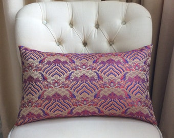 Metallic Gold, Red and Blue Chinese/Oriental Patterned Brocade Cushion Cover