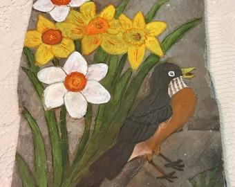 Daffodils and Robin Slate Painting