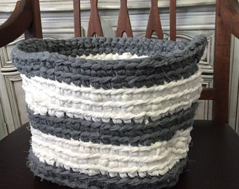 Gray and White Striped Crocheted Fabric Basket
