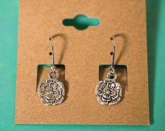 Pansy Flower Silver Earrings