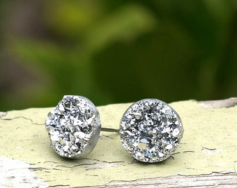 Faux Silver Druzy Stud Earrings, Metallic Silver Glitter Posts, Imitation Drusy Earrings, 12mm