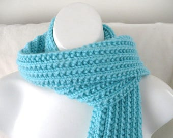 Pale Blue Knit Scarf, Hand Knit Robin's Egg Blue  Scarf, Rib Knitted Womans Scarf, 65 inches