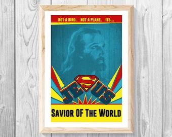 "Jesus Savior Of The World - Christian Print Nursery Decor - Bible Print, Bible Art, Measures 11""x 17""."