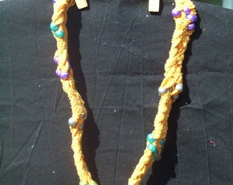 Upcycled Orange Braided T-Shirt Necklace or Scarf with Beads (J-435)