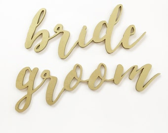 Calligraphy Script 'bride' 'groom' Chair Signs for Wedding, Engagement Party and Bridal Shower.