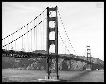 DISCOUNTED - 8X10 Fine Art Print Golden Gate Bridge - San Francisco, California - Black and White