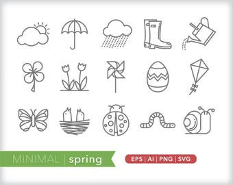 Minimal spring line icons   EPS AI PNG   Geometric Seasonal Clipart Design Elements Digital Download