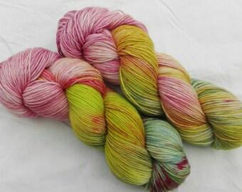 Hand dyed sock yarn merino cashmere nylon Spring